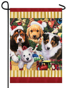 Christmas Puppies Garden Flag