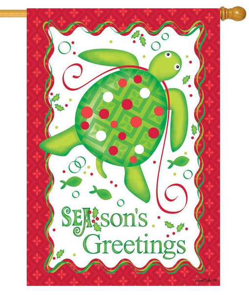 Christmas Sea Turtle House Flag - All Decorative Flags/Holidays/Christmas Flags - I AmEricas Flags