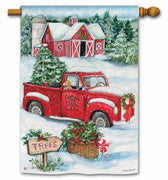 Christmas Tree Farm and Red Truck House Flag
