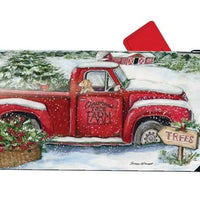 Christmas Tree Farm and Red Truck Mailbox Cover