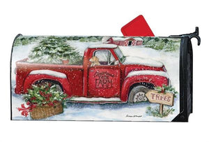 Christmas Tree Farm and Red Truck OVERSIZED Mailbox Cover