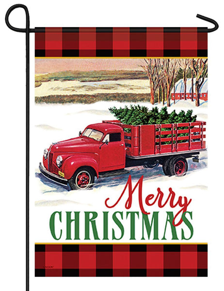 Christmas Tree Truck Garden Flag