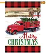 Christmas Tree Truck House Flag