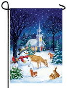 Church Snowman Garden Flag