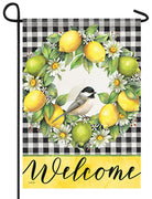 Citrus Wreath on Gingham Garden Flag