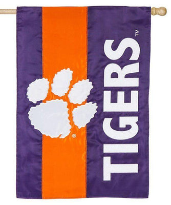 Clemson University Embellished Applique House Flag