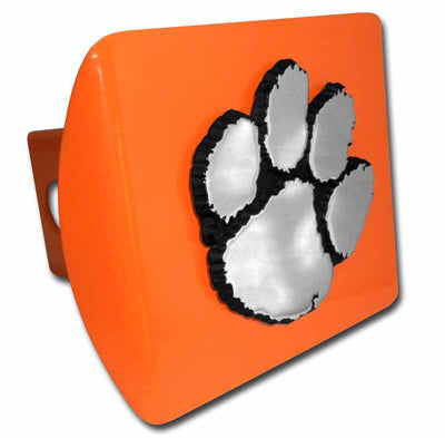 Clemson University Chrome Paw Print Orange Hitch Cover