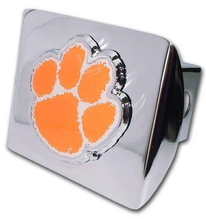 Clemson University Orange Paw Print Chrome Hitch Cover
