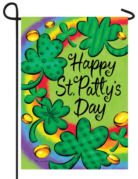 Clover and Rainbow Garden Flag - All Decorative Flags/Holidays/St. Patrick's Day Flags - I AmEricas Flags
