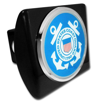 Coast Guard Seal Blue and White on Black Hitch Cover