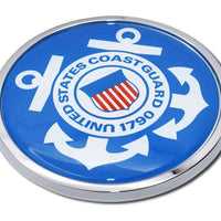 Coast Guard Seal Blue and White Car Emblem Angled