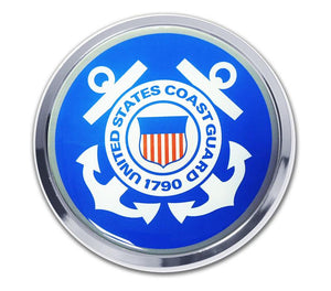 Coast Guard Seal Blue and White Car Emblem