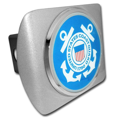 Coast Guard Seal Blue and White on Brushed Hitch Cover