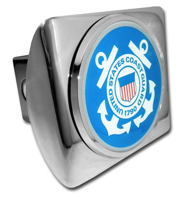 Coast Guard Seal Blue and White on Chrome Hitch Cover