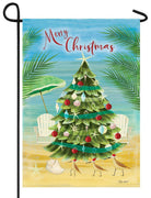 Coastal Christmas Tree Garden Flag