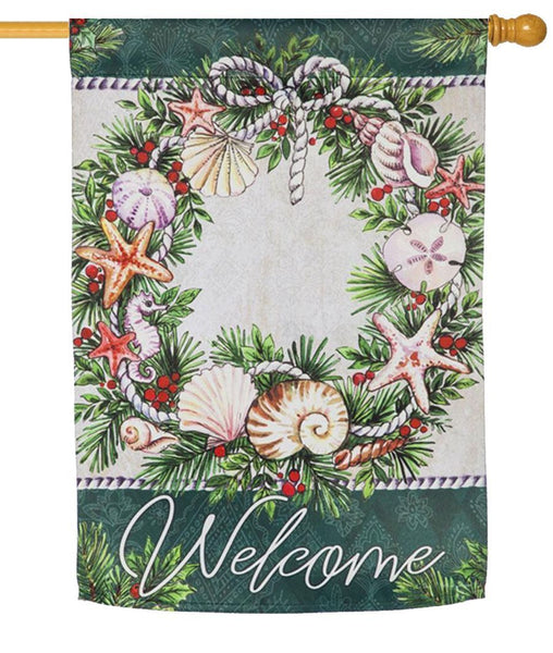 Coastal Christmas Wreath Suede Reflections House Flag - All Decorative Flags/Holidays/Christmas Flags - I AmEricas Flags