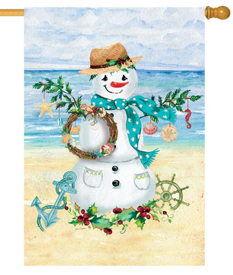 Coastal Snowman House Flag