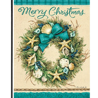 Coastal Wreath Merry Christmas Garden Flag - All Decorative Flags/Holidays/Christmas Flags - I AmEricas Flags