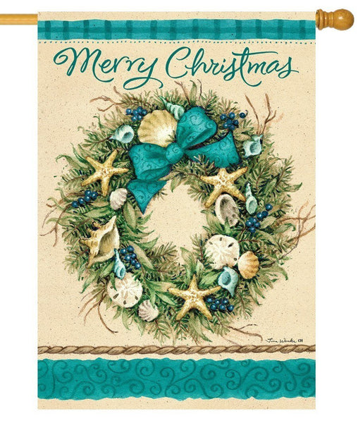 Coastal Wreath Merry Christmas House Flag - All Decorative Flags/Holidays/Christmas Flags - I AmEricas Flags