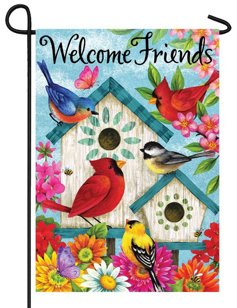 Colorful Flowers and Birdhouses Garden Flag