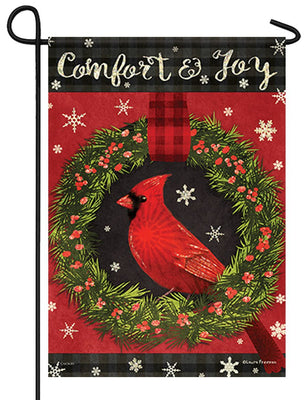 Comfort and Joy Cardinal Glitter Garden Flag