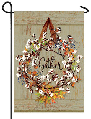 Cotton Wreath Garden Flag