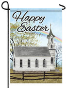 Country Church Happy Easter Garden Flag