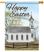 Country Church Happy Easter House Flag