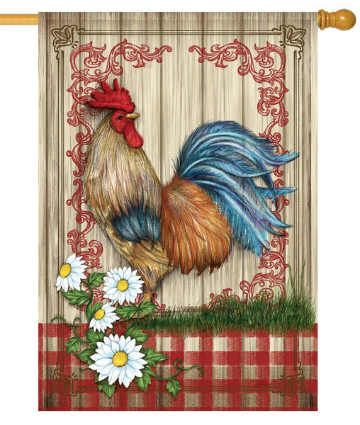 Country Home Rooster House Flag