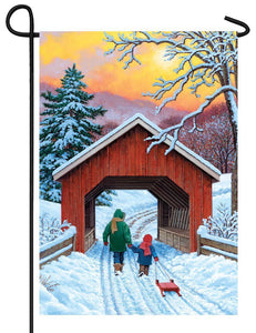 Covered Bridge in Winter Garden Flag