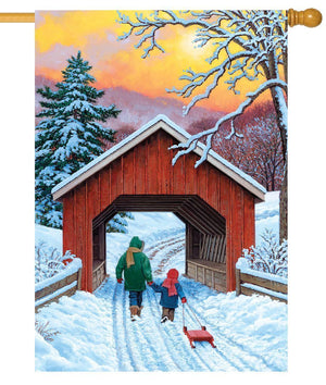 Covered Bridge in Winter House Flag