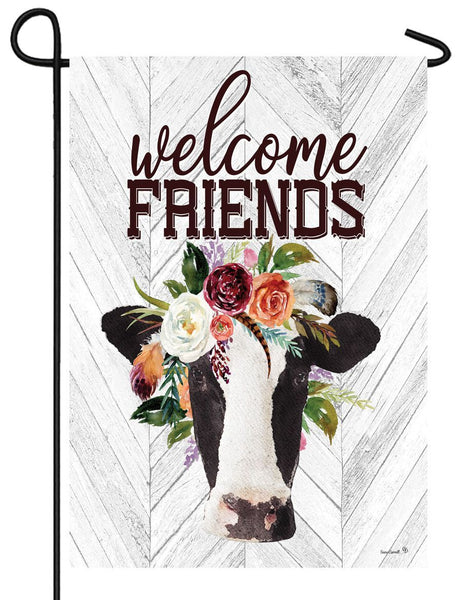 Cow and Floral Bouquet Garden Flag - All Decorative Flags/Themes/Animal Flags/Farm Animal Flags - I AmEricas Flags