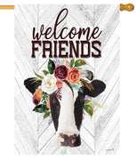 Cow and Floral Bouquet House Flag