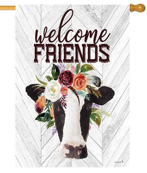Cow and Floral Bouquet House Flag - All Decorative Flags/Themes/Animal Flags/Farm Animal Flags - I AmEricas Flags