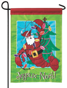 Crawfish Santa Double Applique Garden Flag