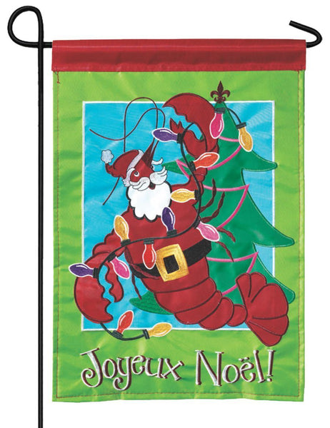 Crawfish Santa Double Applique Garden Flag - All Decorative Flags/Holidays/Christmas Flags - I AmEricas Flags