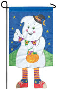 Crazy Legs Boo Ghost Double Applique Garden Flag