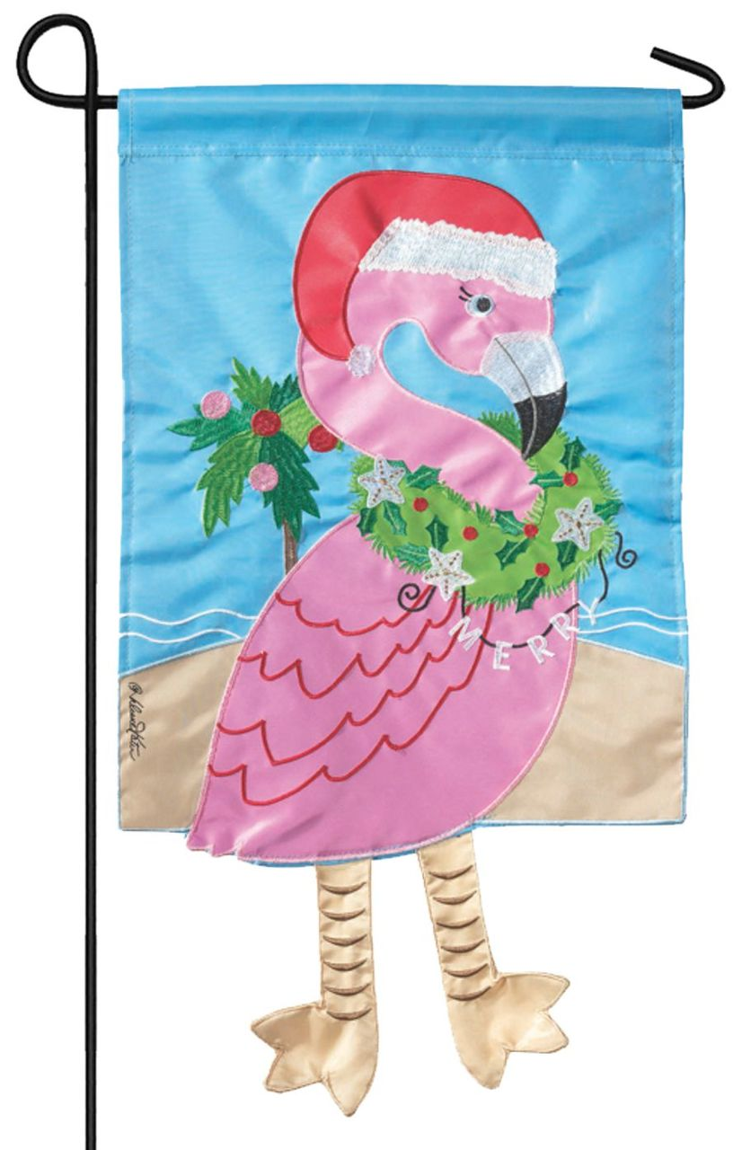 Crazy Legs Christmas Flamingo Double Applique Garden Flag