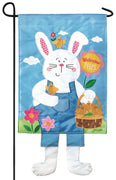 Crazy Legs Easter Bunny Double Applique Garden Flag