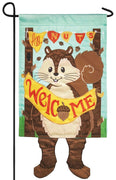 Crazy Legs Fall Squirrel Double Applique Garden Flag