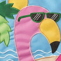 Crazy Legs Flamingo Double Applique Garden Flag Detail 1