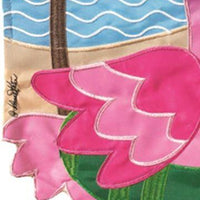 Crazy Legs Flamingo Double Applique Garden Flag Detail 2