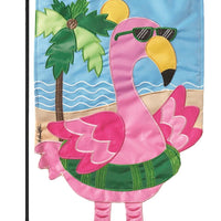 Crazy Legs Flamingo Double Applique Garden Flag