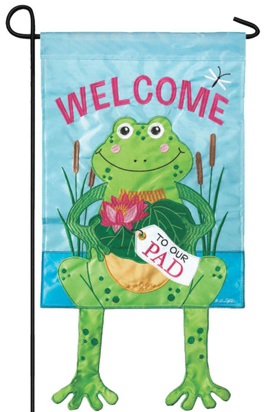 Crazy Legs Frog Double Applique Garden Flag