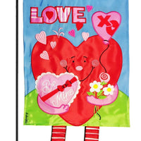 Crazy Legs Heart Double Applique Garden Flag