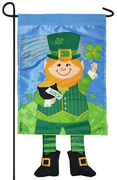 Crazy Legs Leprechaun Double Applique Garden Flag