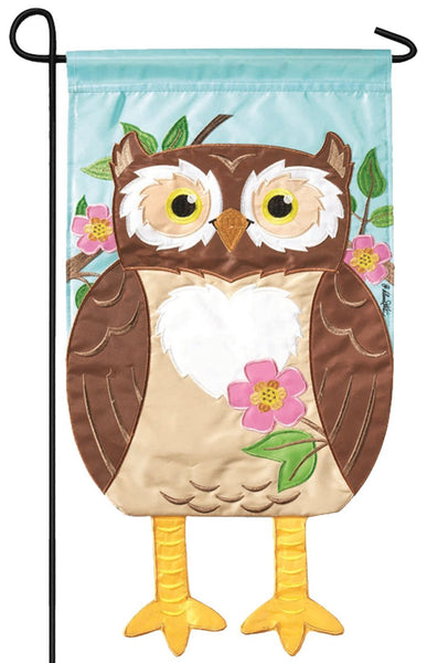 Crazy Legs Owl Double Applique Garden Flag