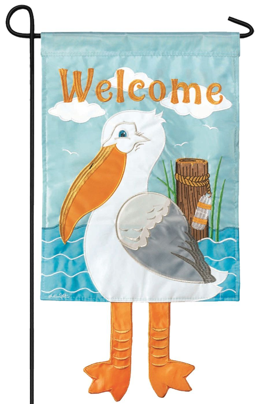 Crazy Legs Pelican Double Applique Garden Flag