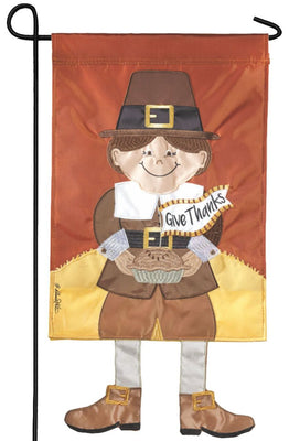Crazy Legs Pilgrim Double Applique Garden Flag