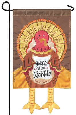 Crazy Legs Turkey Double Applique Garden Flag